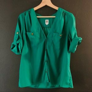 V neck rich green button down